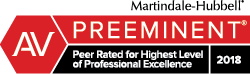Martindale-Hubbell rating of Preeminent (peer rated for highest level of professional excellence